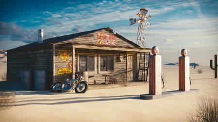 海外の古いガソリンスタンドの絵